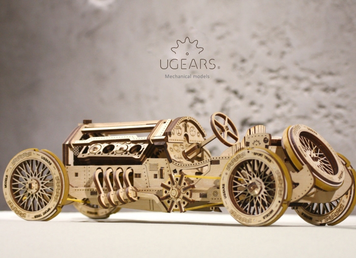 Puzzle 3D Masina Grand Prix U-9 din lemn Ugears 5