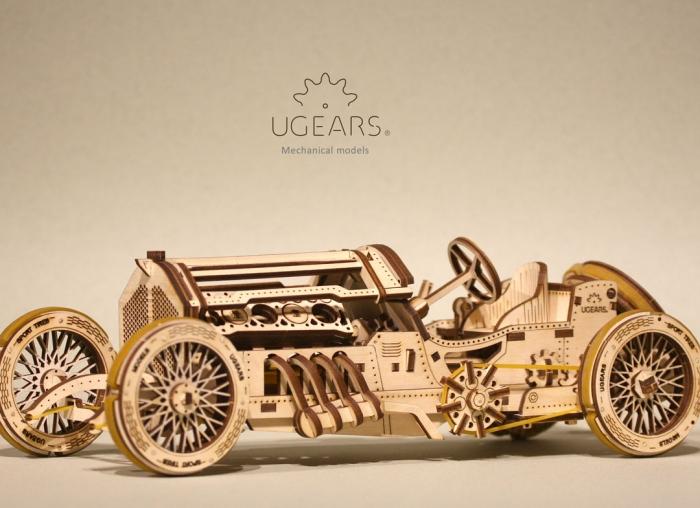 Puzzle 3D Masina Grand Prix U-9 din lemn Ugears 7