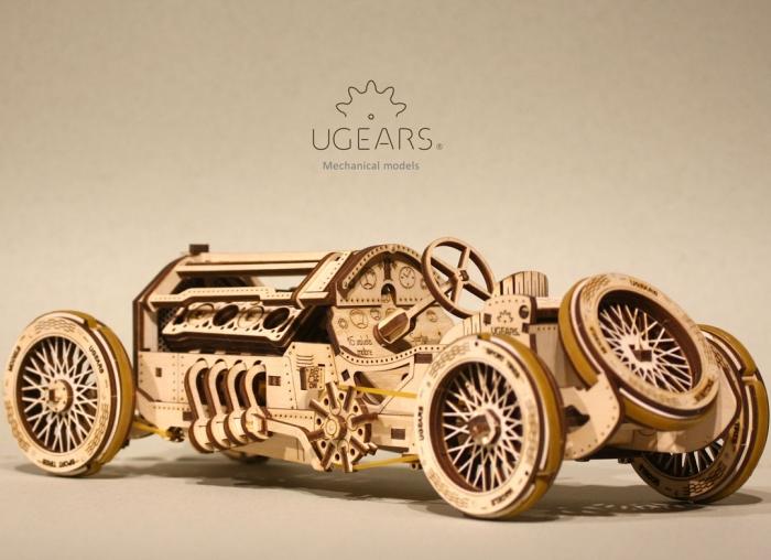 Puzzle 3D Masina Grand Prix U-9 din lemn Ugears 4
