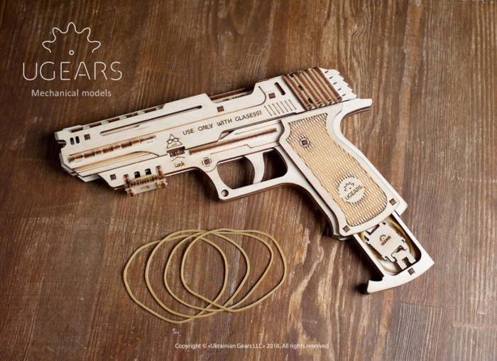 Puzzle 3D Pistol Wolf din lemn Ugears 5