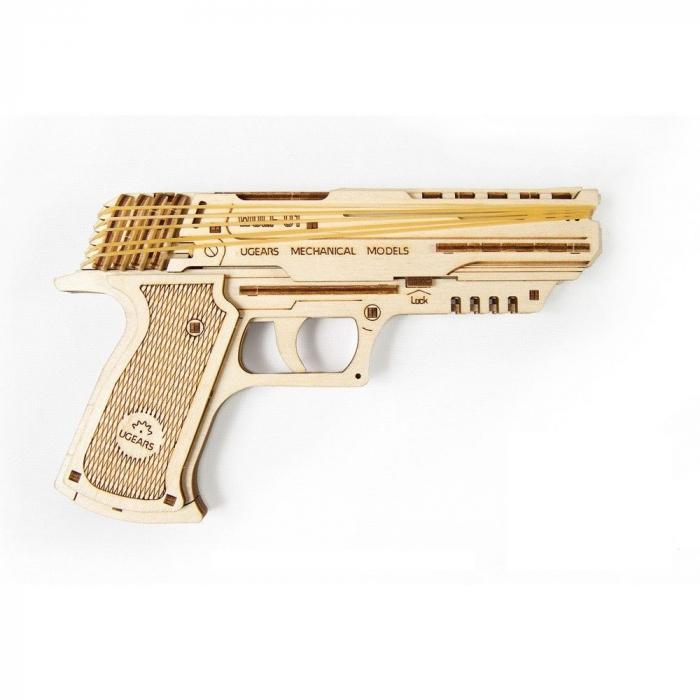 Puzzle 3D Pistol Wolf din lemn Ugears 4