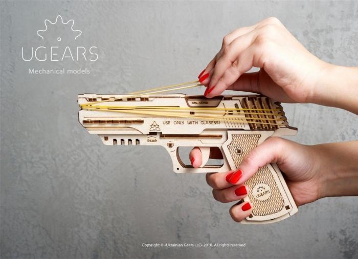 Puzzle 3D Pistol Wolf din lemn Ugears 2