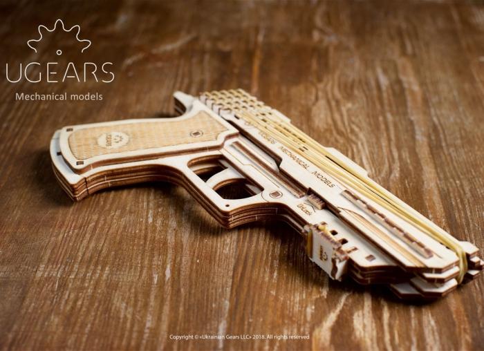Puzzle 3D Pistol Wolf din lemn Ugears 7