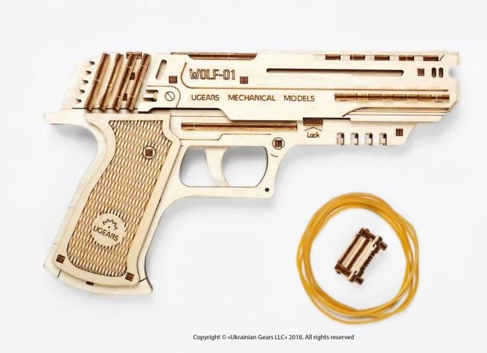Puzzle 3D Pistol Wolf din lemn Ugears 10