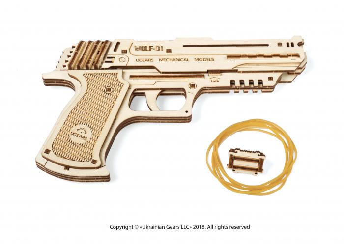 Puzzle 3D Pistol Wolf din lemn Ugears 11