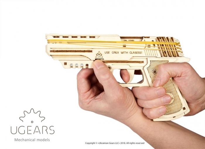 Puzzle 3D Pistol Wolf din lemn Ugears 9