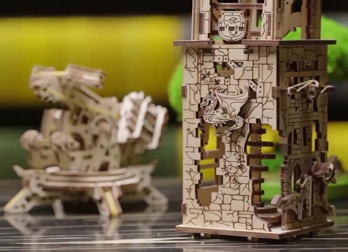 Puzzle 3D Turn Archballista din lemn Ugears 9