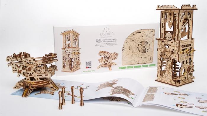 Puzzle 3D Turn Archballista din lemn Ugears 4