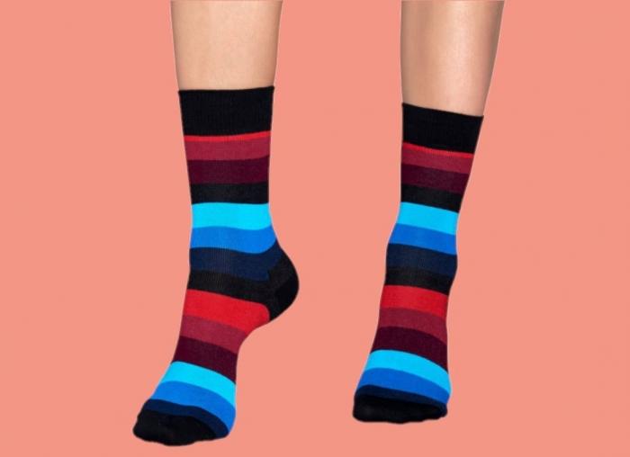 Sosete Happy Socks Negre cu Dungi 1