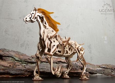 Puzzle 3D Cal Bionic din lemn Ugears10