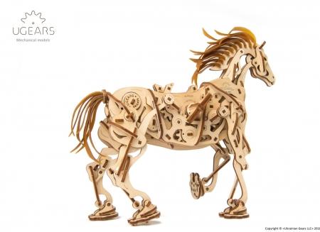 Puzzle 3D Cal Bionic din lemn Ugears6
