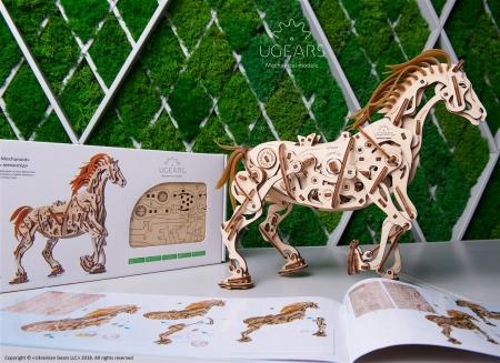 Puzzle 3D Cal Bionic din lemn Ugears9