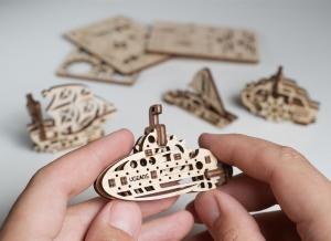 Puzzle 3D Fidget Nave Maritime din Lemn Ugears3
