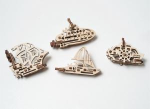 Puzzle 3D Fidget Nave Maritime din Lemn Ugears5