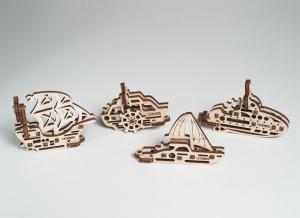 Puzzle 3D Fidget Nave Maritime din Lemn Ugears6