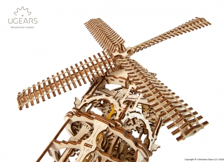 Puzzle 3D Moara de vant din lemn Ugears1