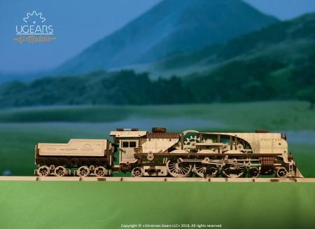 Puzzle 3D Tren V- Express cu abur din lemn Ugears17