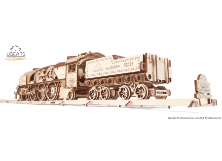 Puzzle 3D Tren V- Express cu abur din lemn Ugears1
