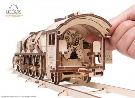Puzzle 3D Tren V- Express cu abur din lemn Ugears7