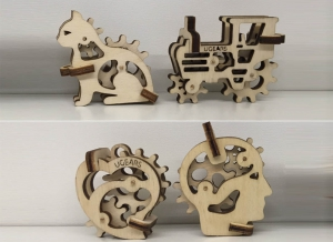 Puzzle 3D Fidget Tribiki din Lemn Ugears6