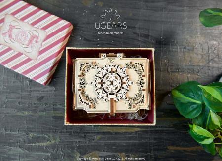 Puzzle 3D Cutie antica de bijuterii Ugears10
