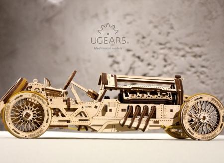 Puzzle 3D Masina Grand Prix U-9 din lemn Ugears8