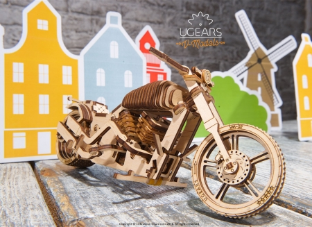 Puzzle 3D Motocicleta VM-02 din lemn Ugears14