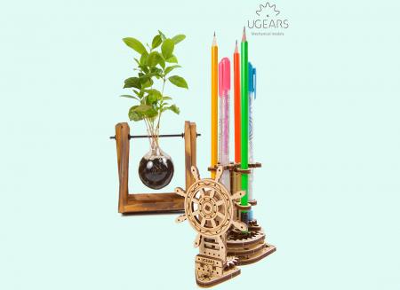 Puzzle 3D Organizator birou cool Ugears0