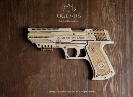 Puzzle 3D Pistol Wolf din lemn Ugears6