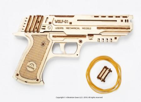 Puzzle 3D Pistol Wolf din lemn Ugears10