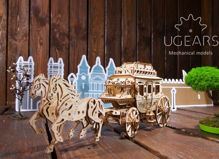 Puzzle 3D Trasura cu cai din lemn Ugears