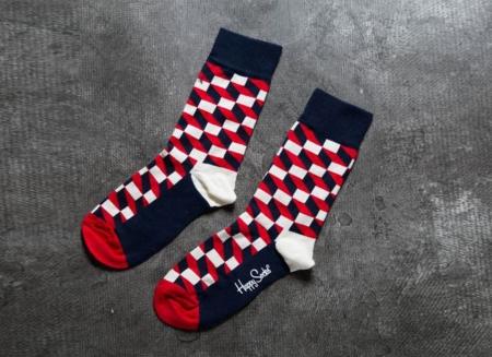 Sosete Happy Socks modele geometrice rosii2