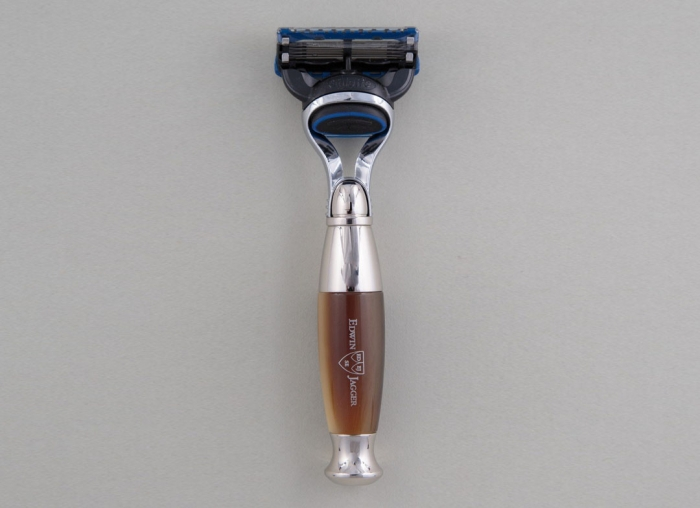 Set cadou barbierit 3 piese Edwin Jagger Aparat de ras Fusion Pro Glide, Pamatuf Pure Badger