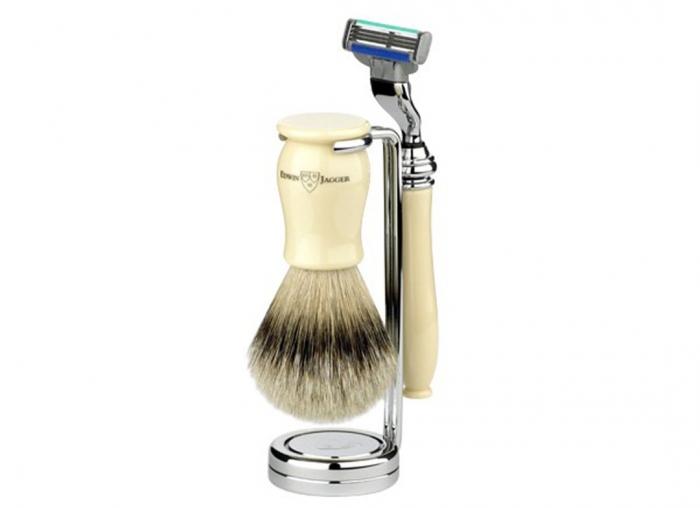 Set cadou barbierit de lux 3 piese Edwin Jagger Aparat de ras Chatsworth Ivory Mach 3, Pamatuf Best Badger