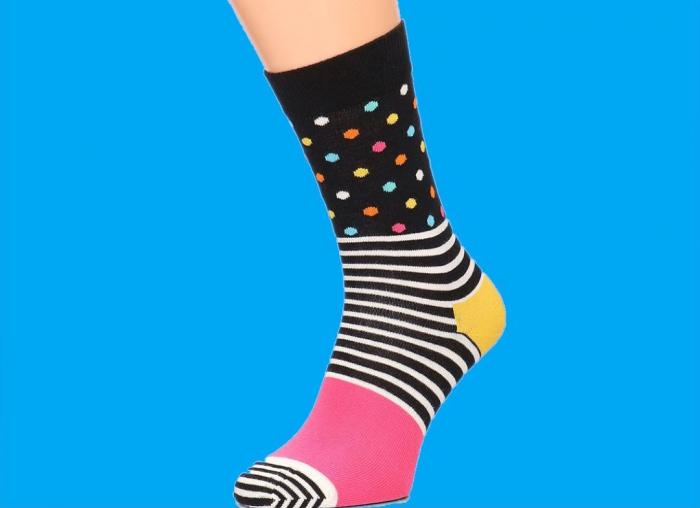 Sosete Happy Socks cu dungi si buline