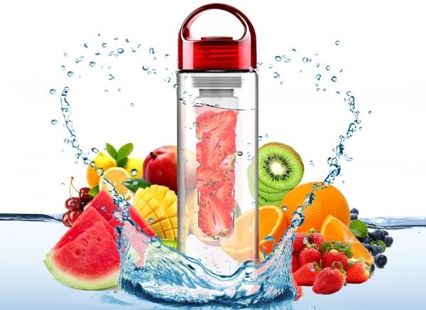 Sticla de apa cu infuzor de fructe cu capac Rosu