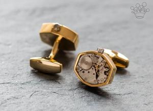 Butoni mecanism ceas mobil hexagon cu cadran auriu