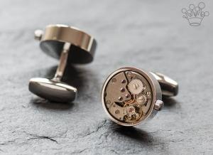 Butoni mecanism ceas mobil rotund cu cadran crom
