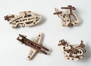 Puzzle 3D Fidget Avioane din Lemn Ugears