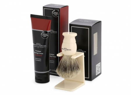 Set cadou barbati Edwin Jagger Pamatuf Best Badger si Crema Barbierit Sandalwood