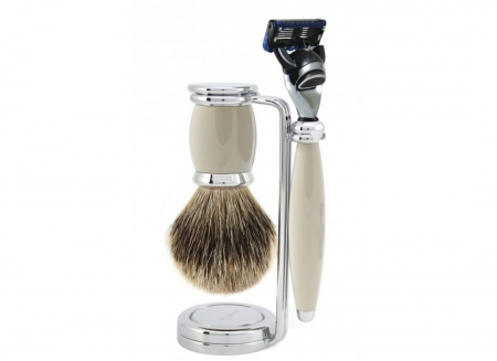 Set cadou barbierit de lux 3 piese Edwin Jagger Aparat de ras Fusion Pro Glide, Pamatuf Best Badger Grey