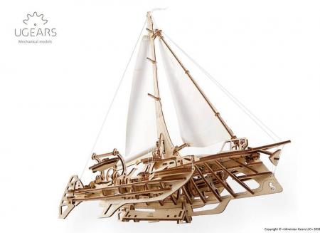 Puzzle 3D Barca Trimaran din lemn Ugears