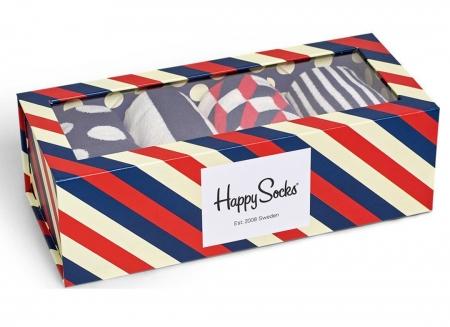 Set sosete Happy Socks cu dungi si buline colorate