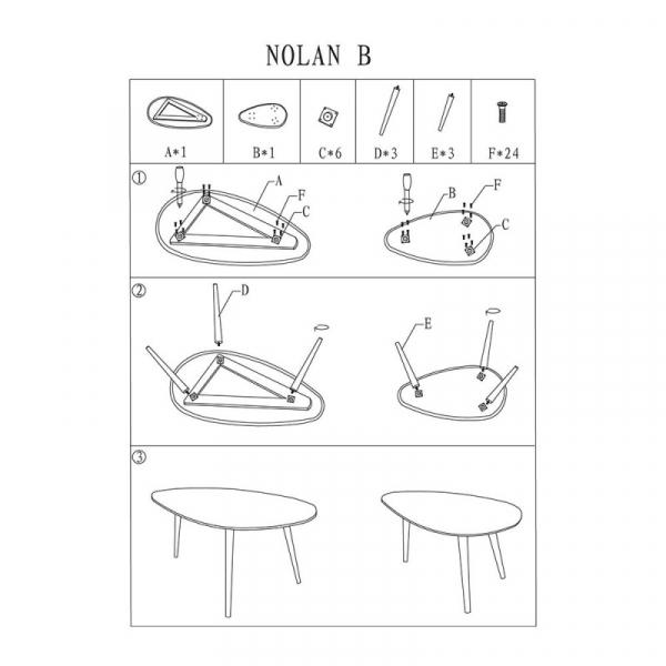 Set 2 mese cafea SL Nolan B alb - stejar
