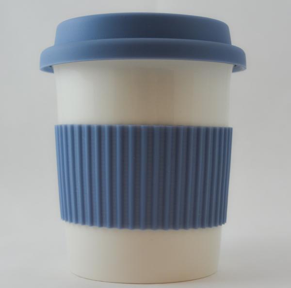 Pahar ceramica cu capac silicon albastru 0