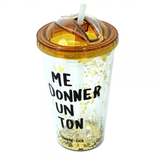 Pahar De Vara Cu Pai Confetti Me Donner Un Ton 450 ml 2
