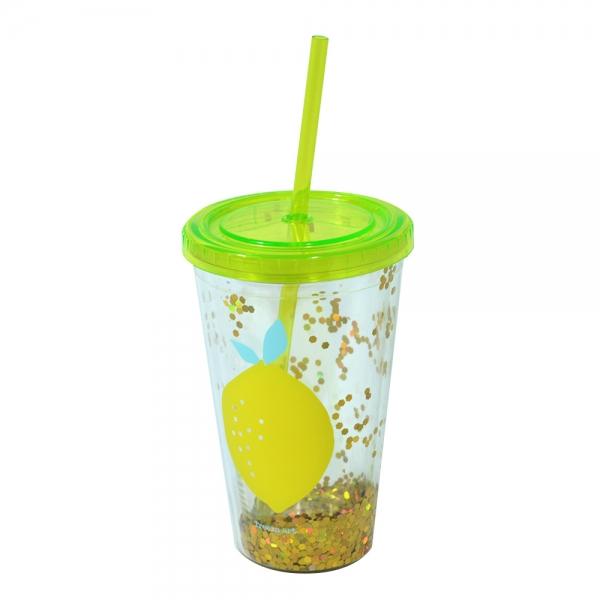 Pahar De Vara Cu Pai Confetti Lemon 450 ml 2