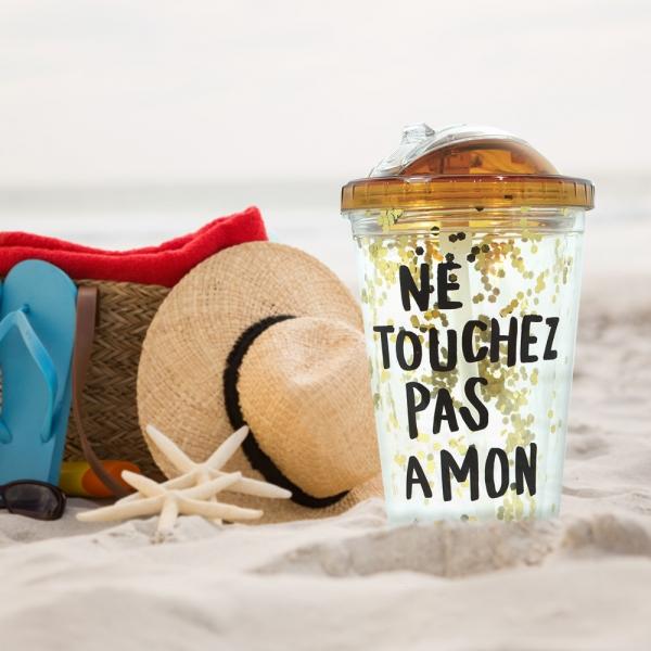 Pahar De Vara Cu Pai Confetti Ne Touchez Pas A Mon 450 ml 0