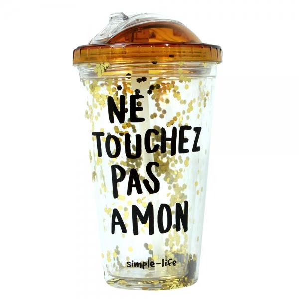 Pahar De Vara Cu Pai Confetti Ne Touchez Pas A Mon 450 ml 1