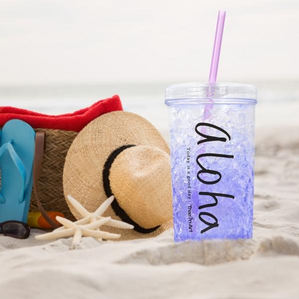 Pahar De Vara Cu Pai Cool Water #1 450 ML – Mentine Bautura Rece 0